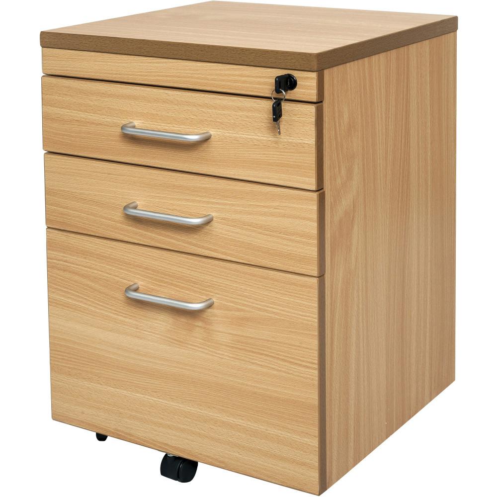 Rapid Span Mobile Pedestal 2 Drawer 1 File Drawer Lockable Beech
