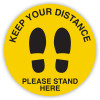 DURUS HEALTH AND SAFETY SIGN Floor Social Distance Footprint Yellow and Black