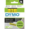 DYMO D1 LABEL CASSETTE 12mmx7m -Black on Yellow