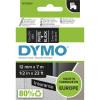 Dymo D1 Label Cassette Tape 12mmx7m White on Black