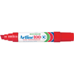ARTLINE 100 PERMANENT MARKERS Large Chisel  Red