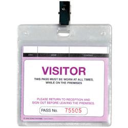Zions WCVSFR Plastic Wallet Visitors & Contractors Pass With Clip Pack of 25