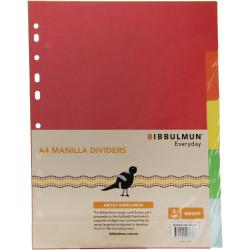 Bibbulmun Manilla Divider A4 5 Tab Plain Bright Colours