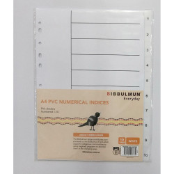 Bibbulmun PVC Divider A4 1-10 Tab Numbered White