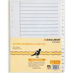 Bibbulmun PVC Divider A4 1-20 Tab Numbered White