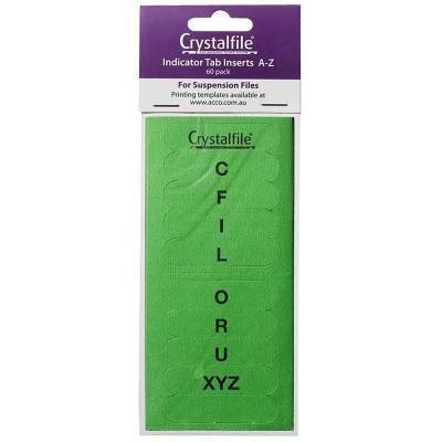 CRYSTALFILE TAB INSERTS A-Z Green