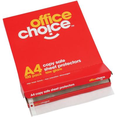 OFFICE CHOICE SHEET PROTECTORS A4 COPYSAFE Box of 100