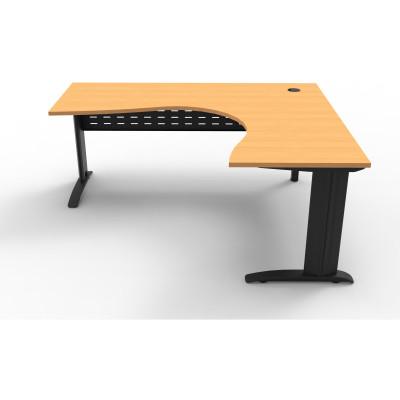 Rapid Span Cockpit Corner Desk 1800Wx1500Wx700mmD Beech Top Black Steel Frame